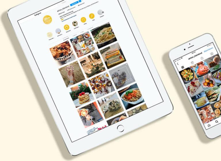 Instagram-Seite auf Tablet und Smartphone