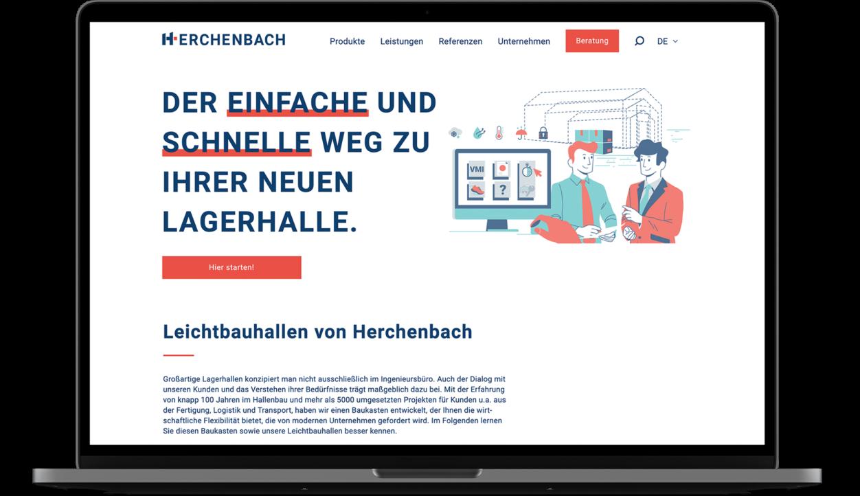 Website auf Laptop abgebildet