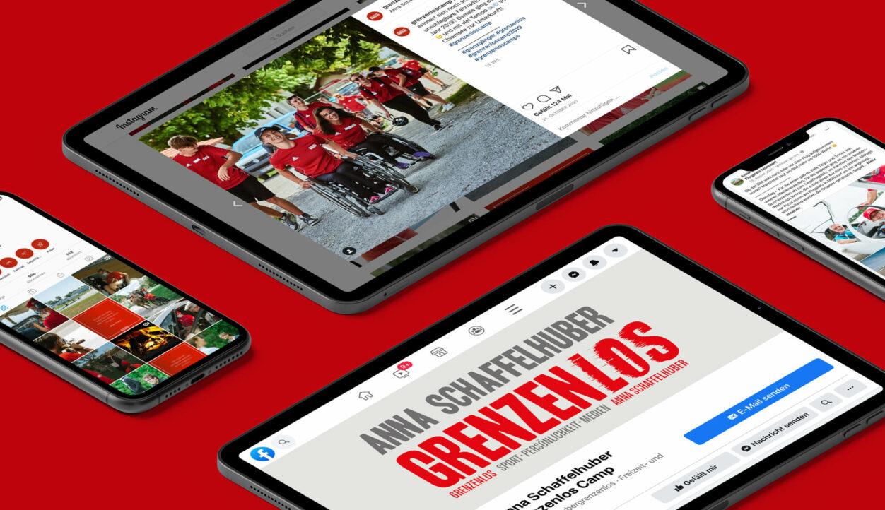 Instagram/ Facebook-Seite auf Tablets/ Smartphones