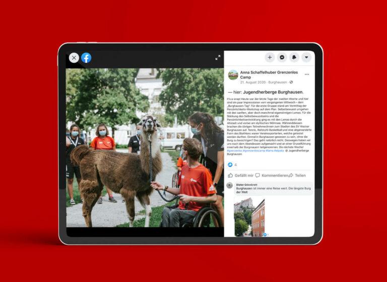 Facebookpost auf Tablet