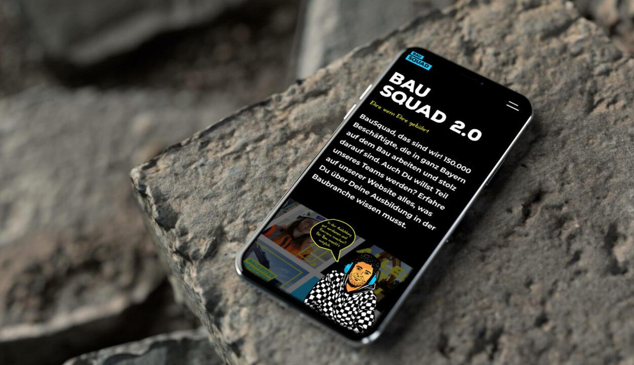 Bau squad Website auf Smartphone