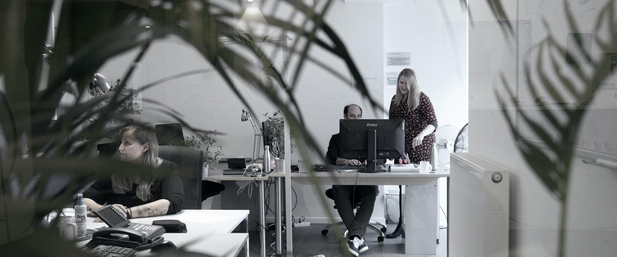 3 Personen im Büro